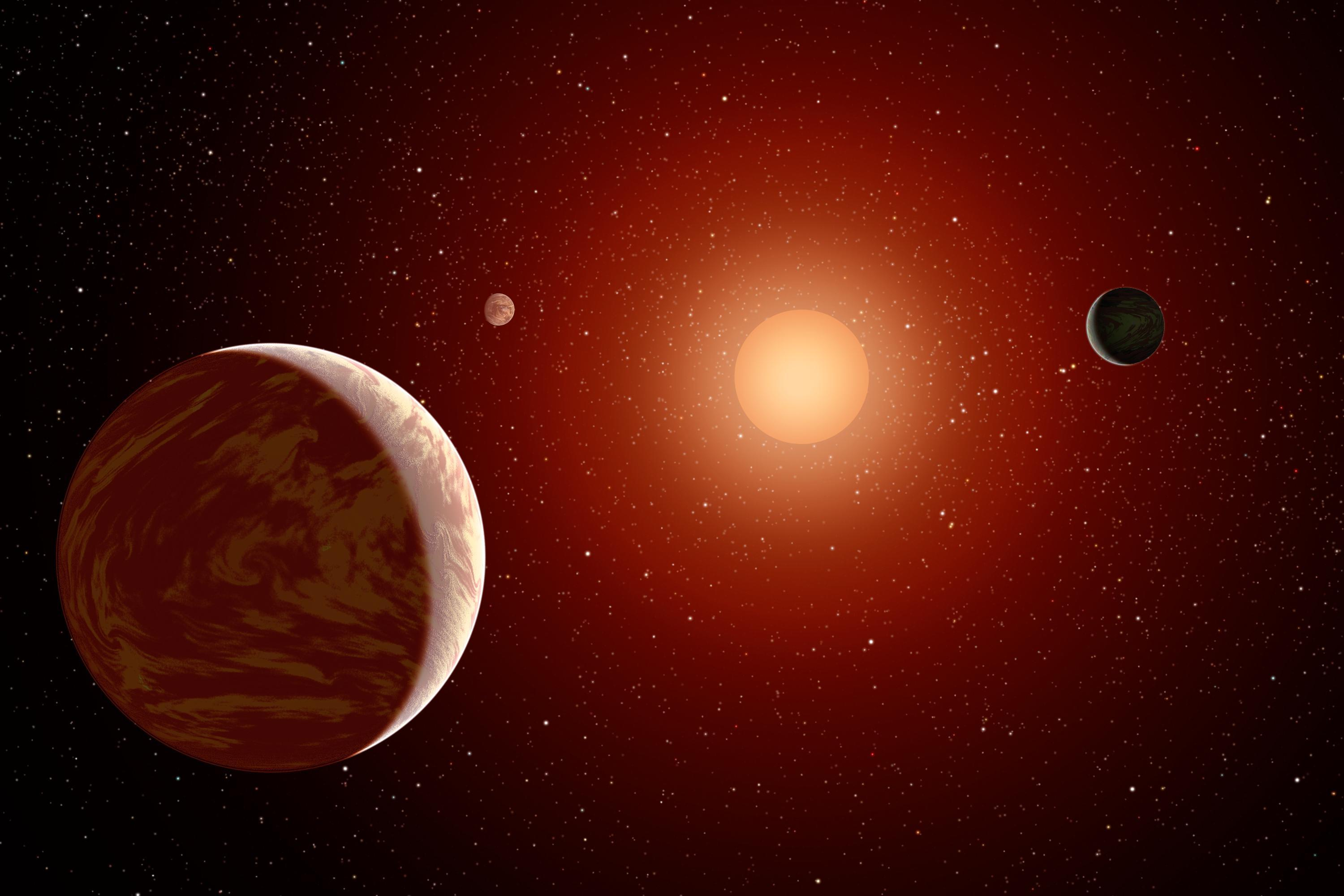 Artist rendering of 3 planets circling a red dwarf (EPIC system not pictured) (Credit: NASA/JPL-Caltech)