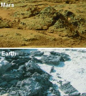 Knob-shaped structures on Mars compared to similar structures caused by erosion of microbial mats at Carbla Point, Western Australia. Credit: Mars Image: NASA; Earth Image: Nora Noffke Read more at: http://phys.org/news/2015-01-potential-ancient-life-mars-rover.html#jCp