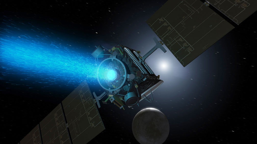 Artist's concept of Dawn mission above Ceres. Since its arrival, the spacecraft turned around to point the blue glow of its ion engine in the opposite direction. Image credit: NASA/JPL
