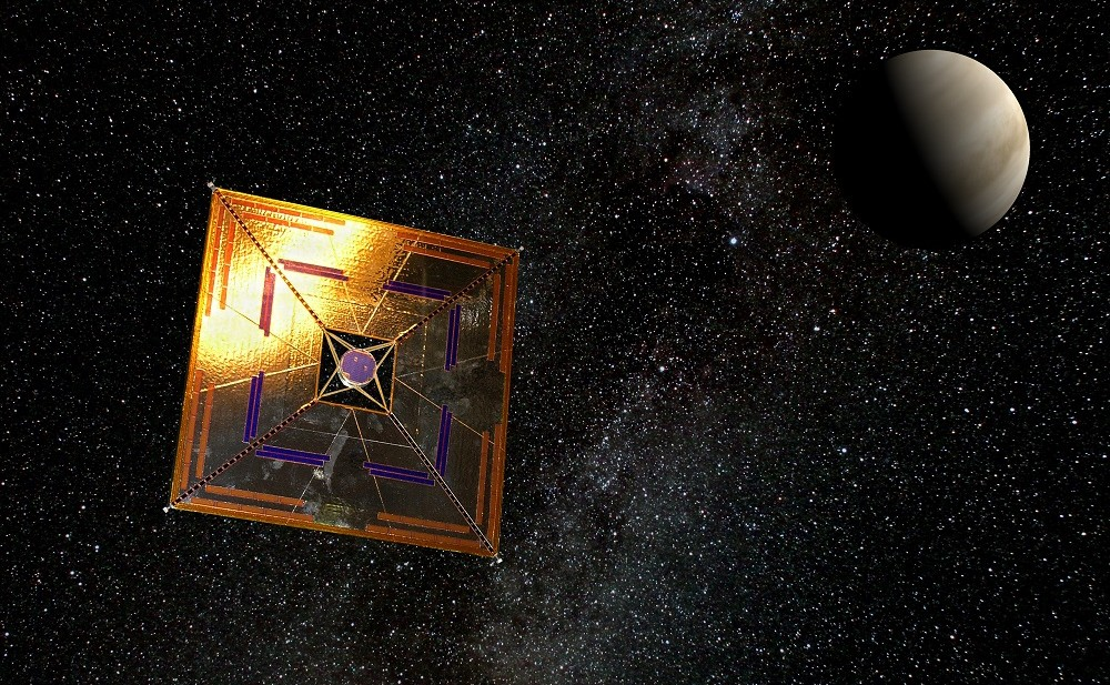 IKAROS spaceprobe with solar sail in flight (artist's depiction) showing a typical square sail configuration. Credit: Wikimedia Commons/Andrzej Mirecki