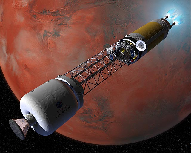 The Crew Transfer Vehicle (CTV) using its nuclear-thermal rocket engines to slow down and establish orbit around Mars. Credit: NASA
