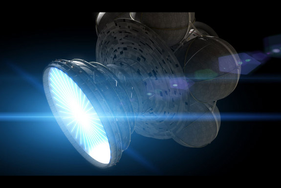 Artist's concept of the Daedalus spacecraft, a two-stage fusion rocket that would achieve up to 12% he speed of light. Credit: Adrian Mann