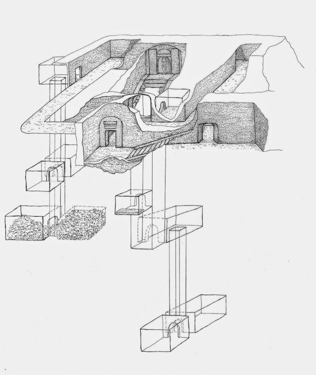 Drawing of the tomb's architecture made by Raffaella Carrera, of the Min Project.