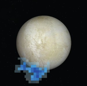 Digital enhancement of plume vapor coming off Europa - (Photo by NASA/ESA/L. Roth/SWRI/University of Cologne)