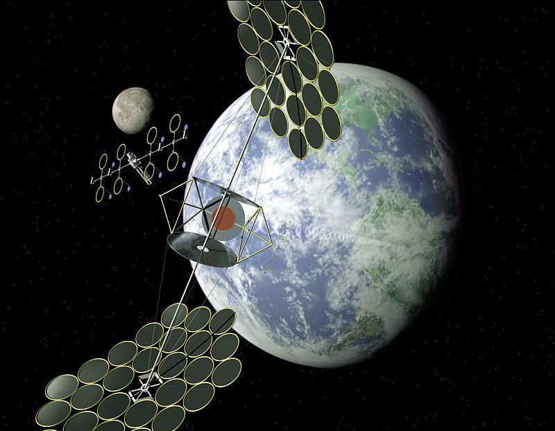 NASA's conception of an orbital power satellite complex - (NASA image)