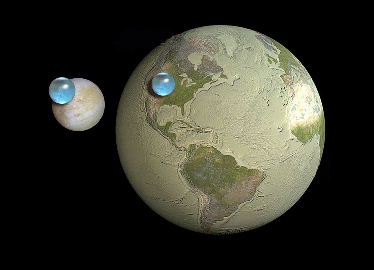An illustration showing the calculated volume of water on Europa, compared to Earth. (Kevin Hand (JPL/Caltech), Jack Cook (Woods Hole Oceanographic Institution), Howard Perlman (USGS))