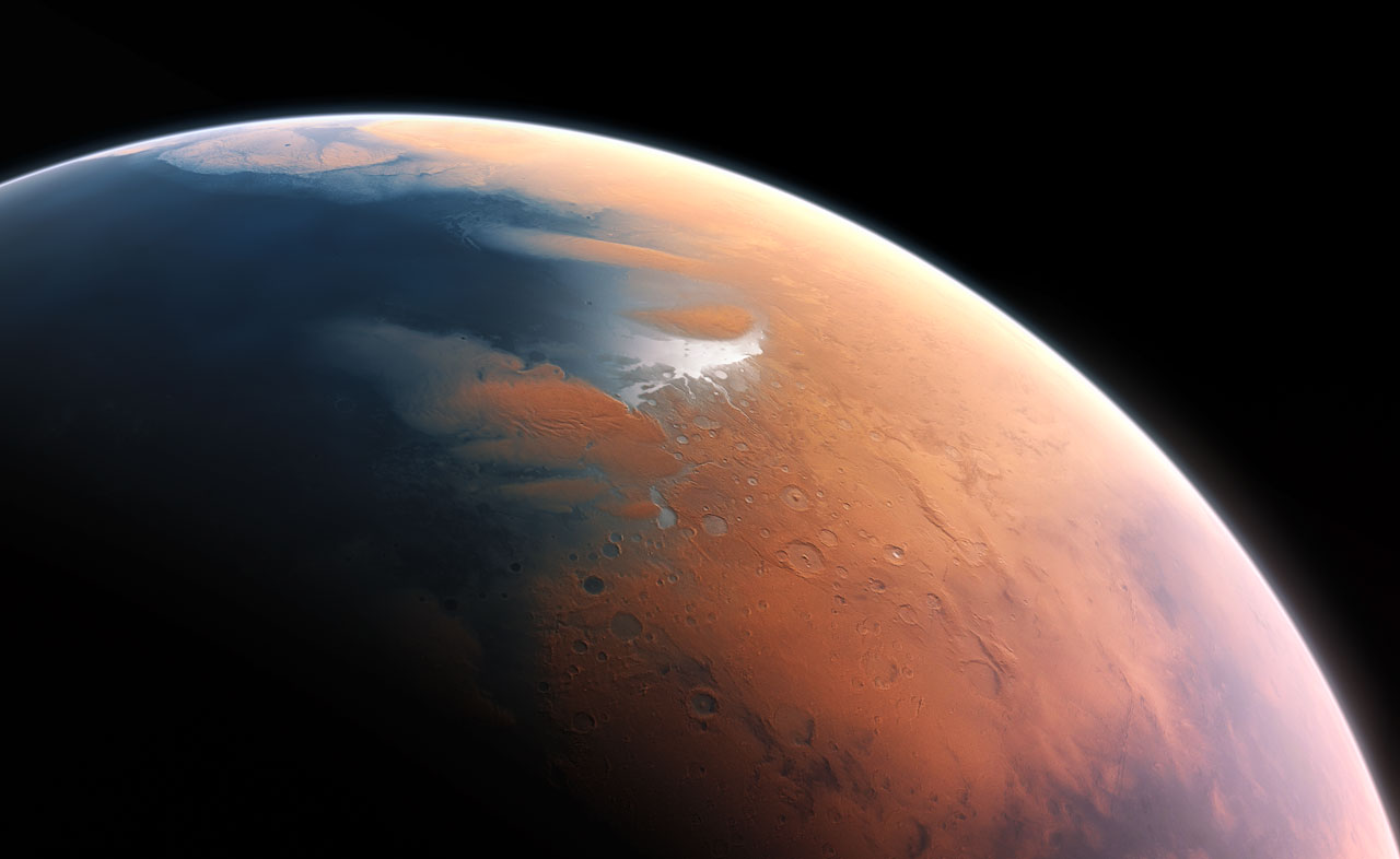 The young planet Mars would have had enough water to cover its entire surface in a liquid layer about 140 metres deep, but it is more likely that the liquid would have pooled to form an ocean occupying almost half of Mars's northern hemisphere, and in some regions reaching depths greater than 1.6 kilometres. (Credit: ESO/M. Kornmesser)