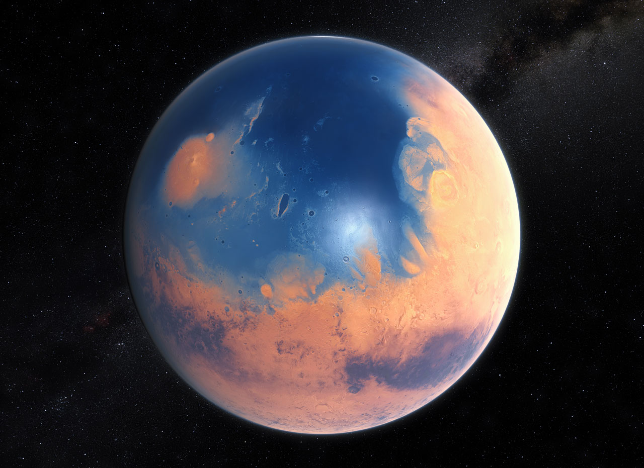 Artist's impression of Mars four billion years ago (Credit: ESO/M. Kornmesser/N. Risinger (skysurvey.org)