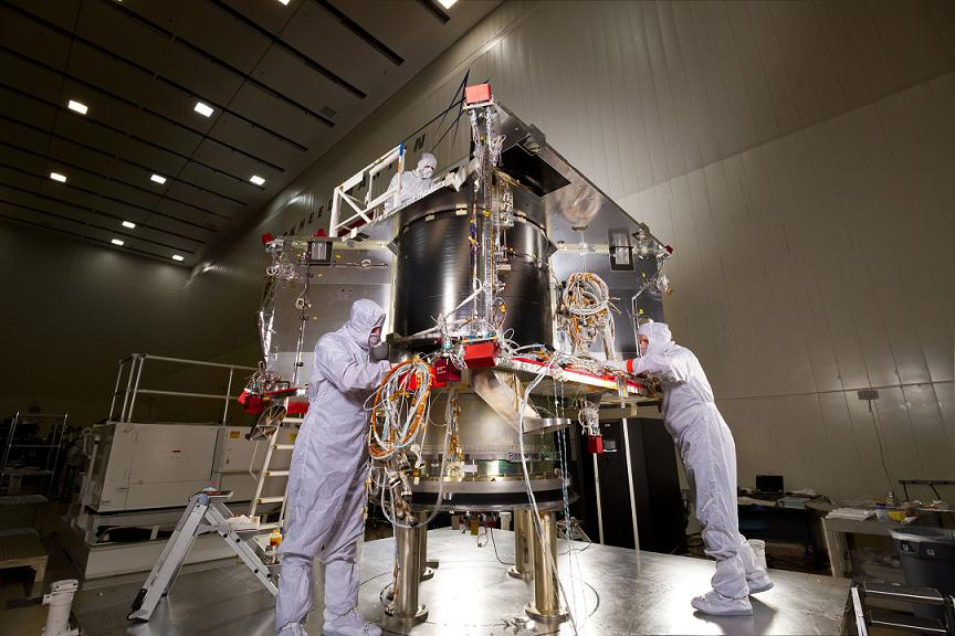 In a clean room at Lockheed Martin, the OSIRIS-REs spacecraft is starting the assembly (ATLO) phase of its mission. Credit: Lockheed Martin