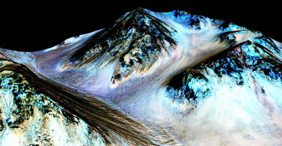 These dark, narrow, 100 meter-long streaks called recurring slope lineae flowing downhill on Mars are inferred to have been formed by contemporary flowing water. Image credit: NASA