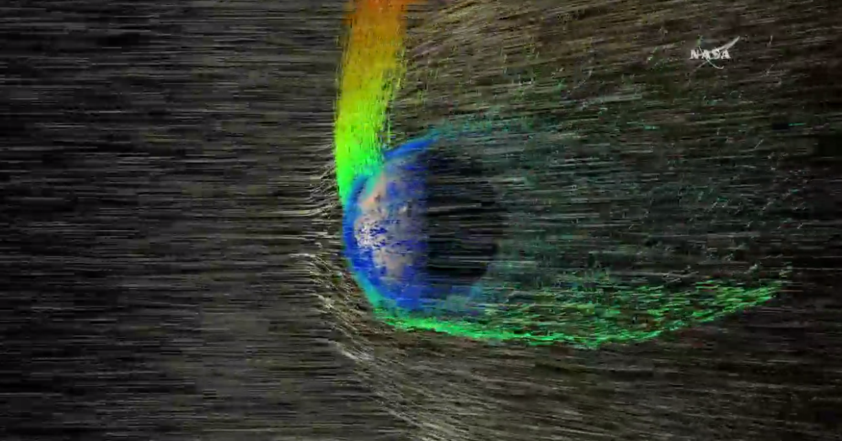 Ions being blown away from Mars atmosphere.