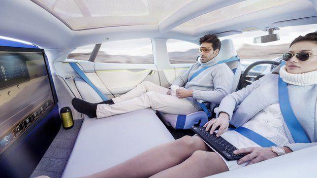 Driverless car concept. Geneva Motor