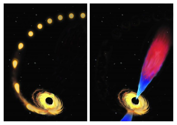 An artist's impression of a star being drawn toward a black hole and destroyed, triggering a jet of plasma made from debris left over from the stars destruction. Modified from an original image by Amadeo Bachar