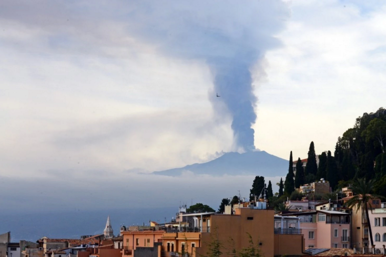 Smoke rises over the city of Taormina. Image credit: Giovanni Isolino