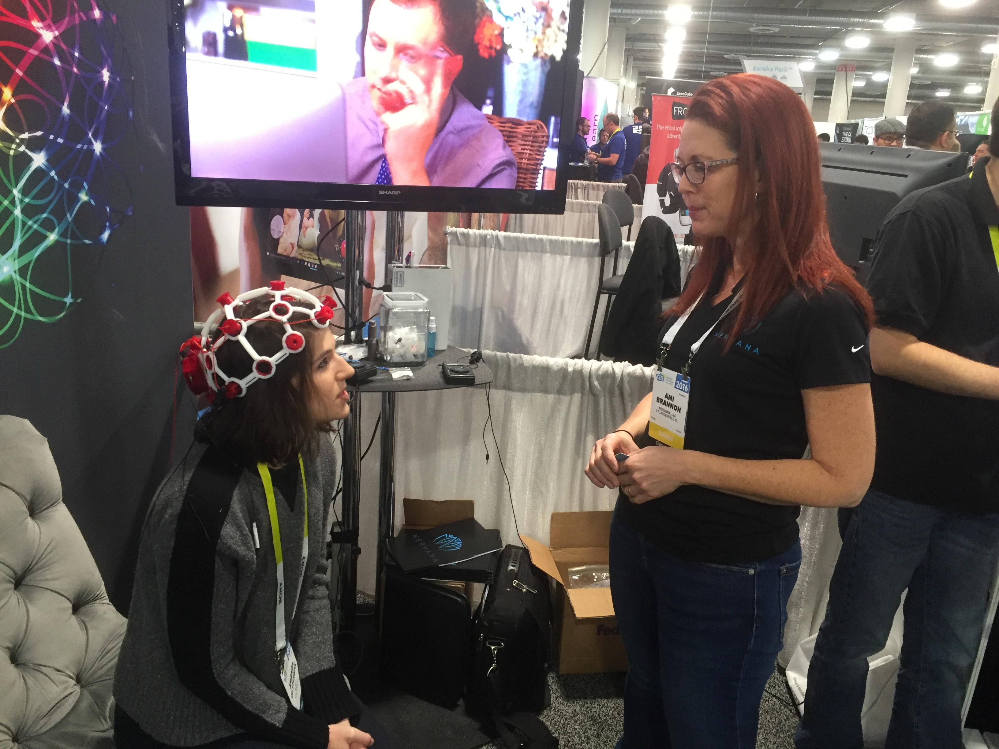 Nervana CEO Ami Brannon explains to me what I'm about to experience. (The headset isn't part of it.)