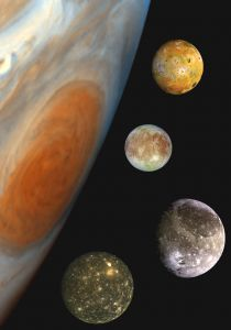Callisto (bottom) together with Jupiter's other Galilean satellites. Image credit: NASA