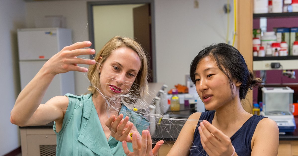 CSNE researchers examine flexible neural recording fibers that can be used in implantable devices for restoring motor function in stroke and spinal cord injury patients. Credit: John Knight Photo