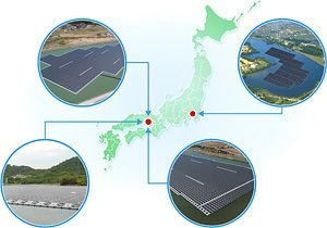 Floating solar power projects developed by Kyocera TCL Solar in Japan. Image Credit: Kyocera