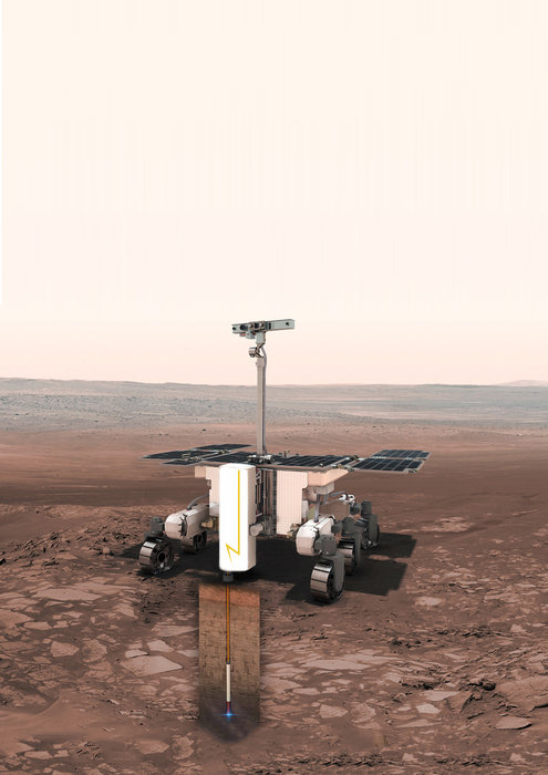 The plasma drill developed for ESA by Norwegian company Zaptec on the front of ESA's Mars Rover. Credit: ESA