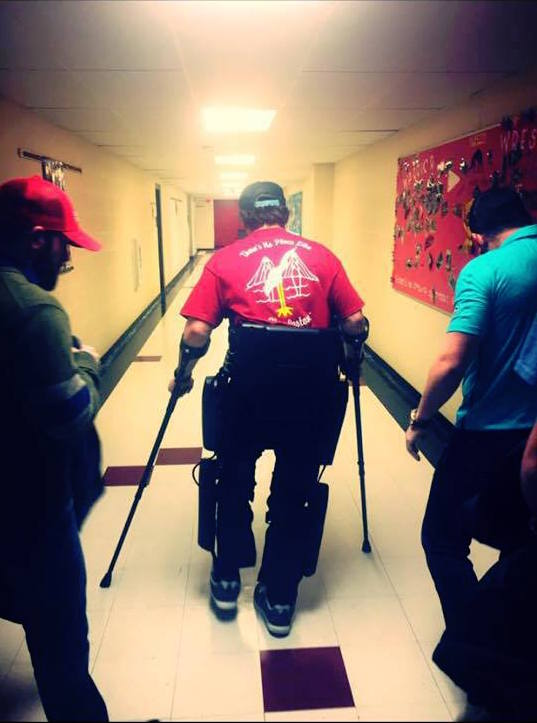 Adam tests out his new ReWalk exoskeleton. Credit: Adam Gorlitsky