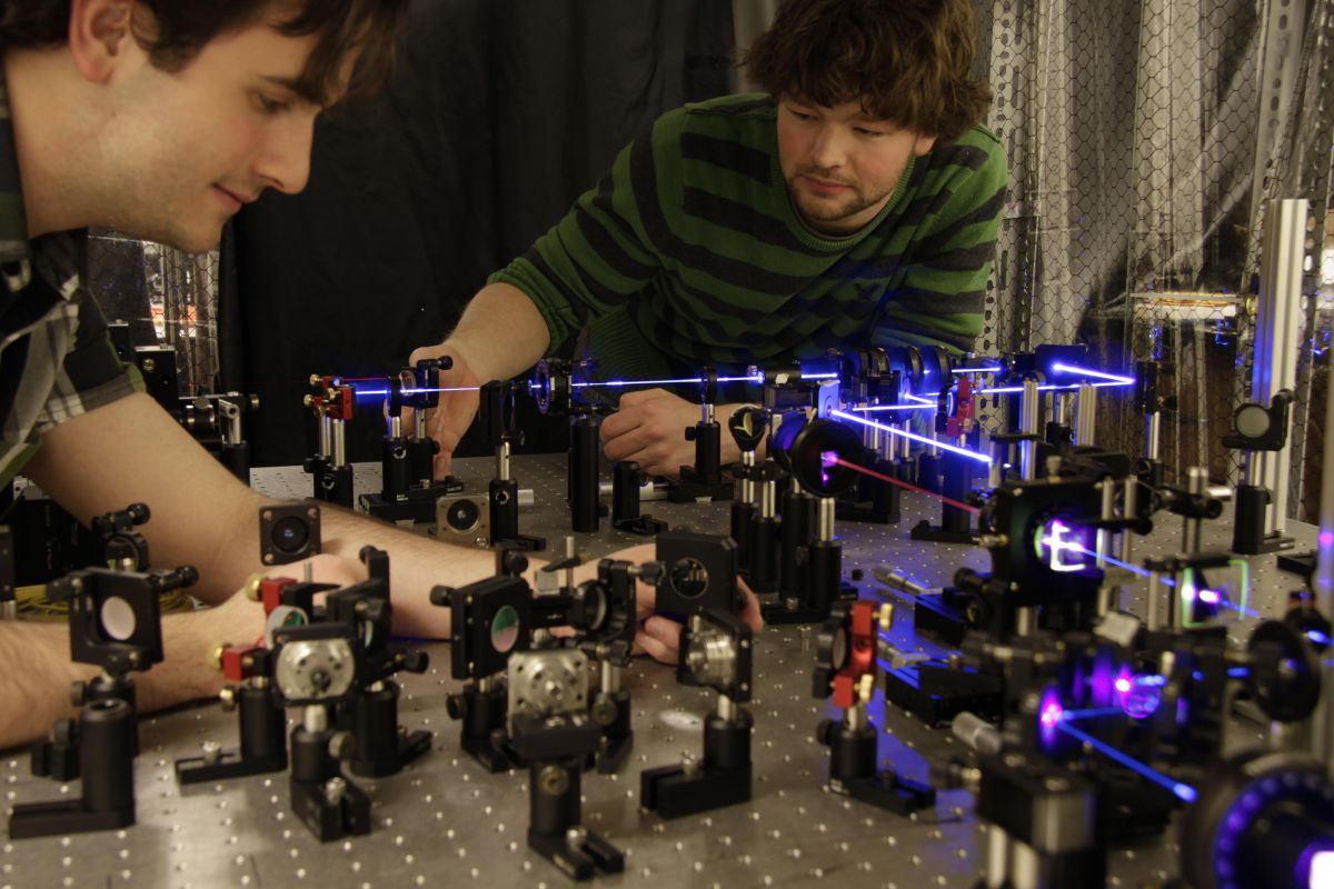 Researchers at the University of Toronto experiment with quantum entanglement. Credit: University of Toronto.