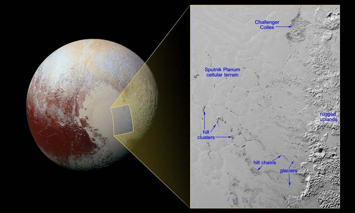 """Annotated New Horizons image of the """"floating hills"""" in the Sputnik Planum. Credit: NASA/Johns Hopkins University Applied Physics Laboratory/Southwest Research Institute"""
