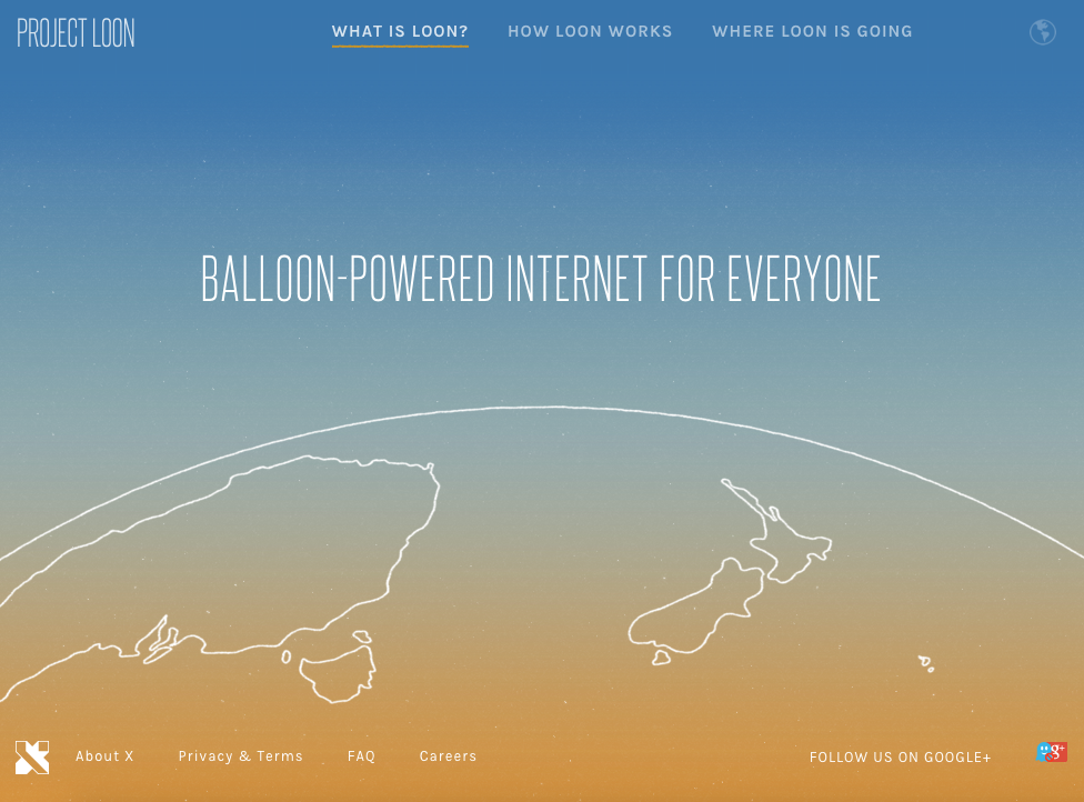 Project Loon Website. Image Credit: http://www.google.com/loon/