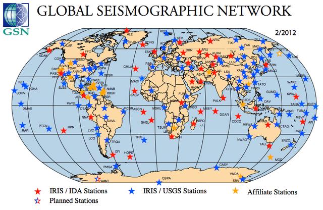 Global seismographic network. Image Credit: www.iris.edu/hq/programs/gsn
