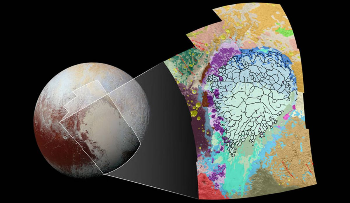 Pluto's unique geological surface as mapped out by NASA. Image Credit: NASA/JHUAPL/SwRI