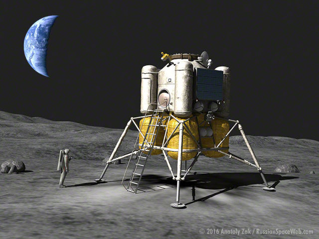 Four-legged planned Russian lunar lander. Image Credit: Anatoly Zak/ Russian Space Web