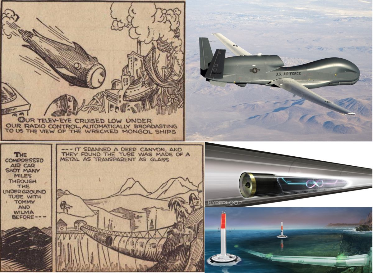 Some of the future predictions found in the Buck Rogers comic strip. Credit: rolandanderson.se/Hyperlooptech.com