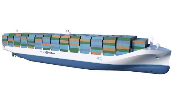 Concept for an autonomous container ship. Credit: Rolls-Royce