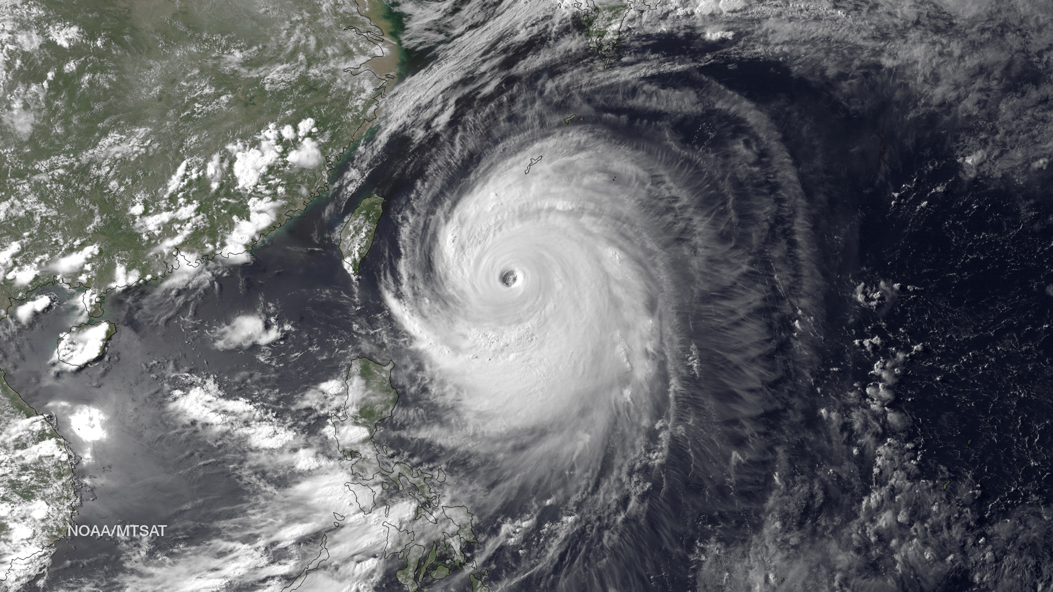 Image: Super Typhoon Neoguri in the Pacific Ocean, approaching Japan on its northward journey, is seen in an image taken by MTSAT-2 satellite on July 7, 2014 Image credit: NOAA