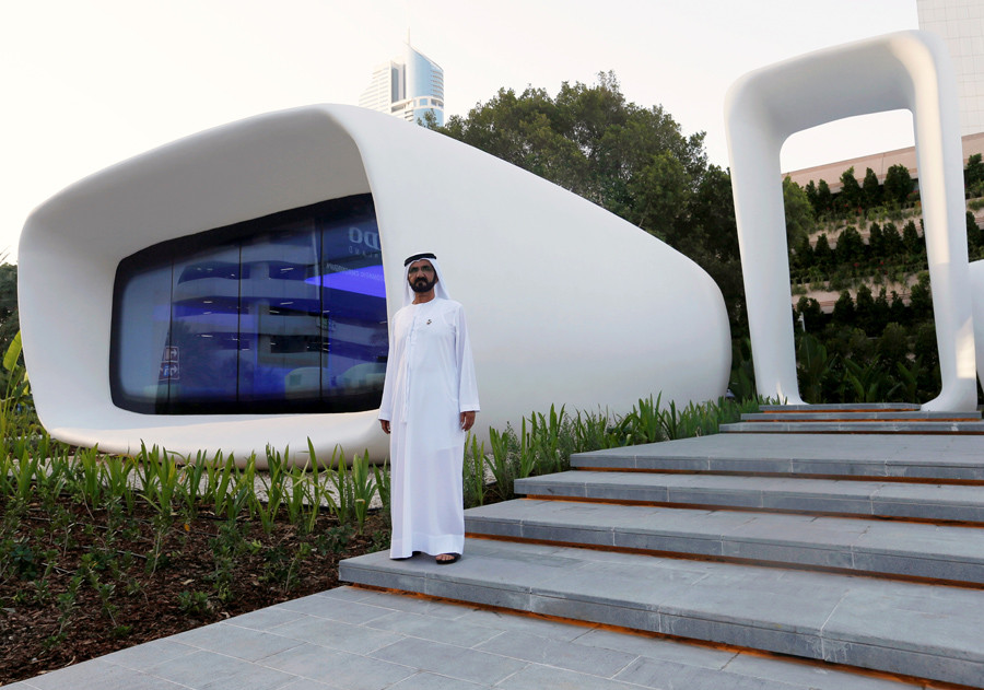 Sheikh Mohammed bin Rashid Al Maktoum, Ruler of Dubai, stands before his city's newest technological and architectural wonder. Credit: Ahmed Jadallah/Reuters