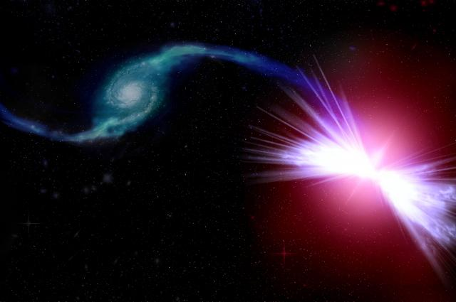 Artist's rendition of the phenomenon. Akira (right) has a black hole that pulls gases from nearby galaxy Tetsuo (left). Credit: Kavli IPMU