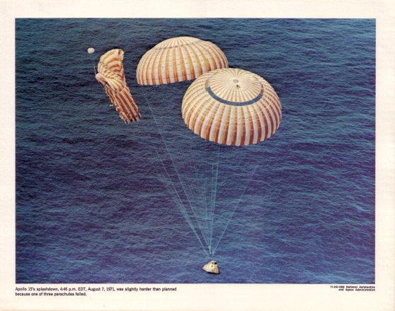 Apollo 15 parachute failure.