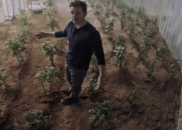 "Definitely not far out. Matt Damon farms his crops in ""The Martian,"" 2015."