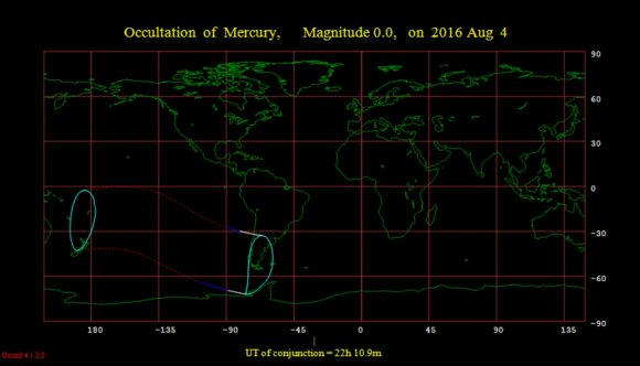 The footprint of the August 4th occultation of Mercury by the Moon. Image credit: Occult 4.2 software.