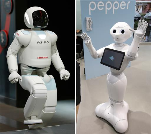 Asimo (Left) and Pepper (right). Credit: Shizuo Kambayashi, Koji Sasahara