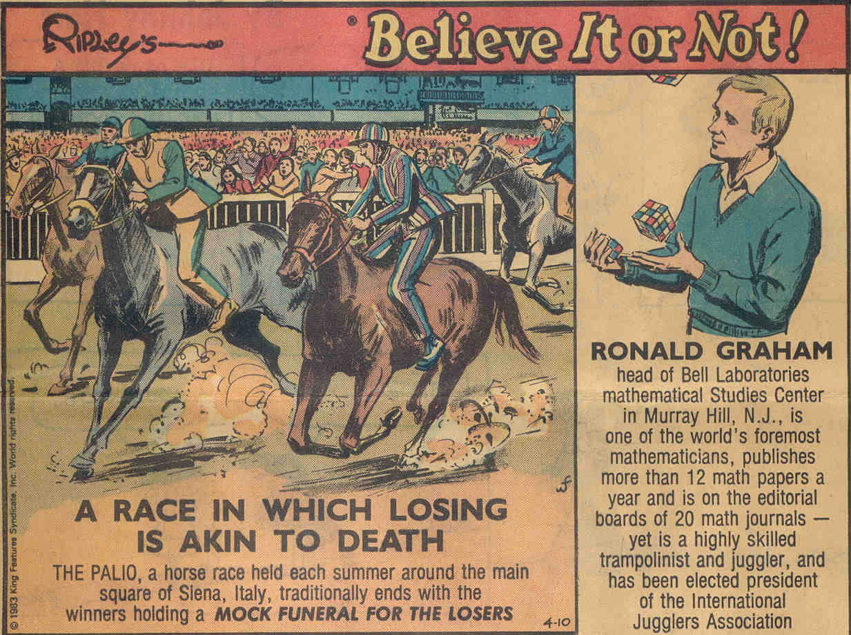 Ronald Graham, the famous mathematician who firestarted this race, as featured in Ripley's Believe It or Not.