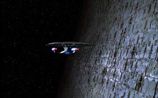 The U.S.S. Enterprise encounters a Dyson Sphere in Star Trek: The Next Generation. Image Credit: Paramount