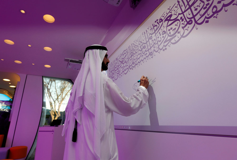 Sheikh Mohammed bin Rashid Al Maktoum at the office of the future. Photo: Ahmed Jadallah / Reuters