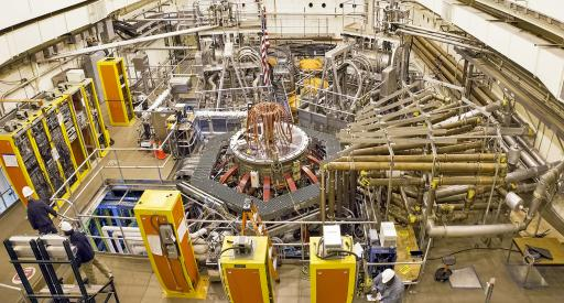 Test cell of the National Spherical Torus Experiment-Upgrade with tokamak in the center. (Photo by Elle Starkman/PPPL Office of Communications)