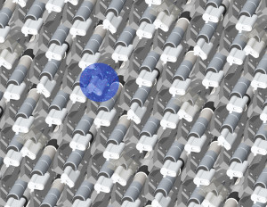 A few of the 5,000 close-packed robotic positioners that place the ends of optical fibers to collect the light from a single galaxy or quasar. The blue circle represents a patch of sky with numerous astronomical targets reachable by a single robot. In seconds it can rotate, extend, or retract to place its fiber in position with millionths of a meter precision. (Image R. Lafever, DESI Collaboration)