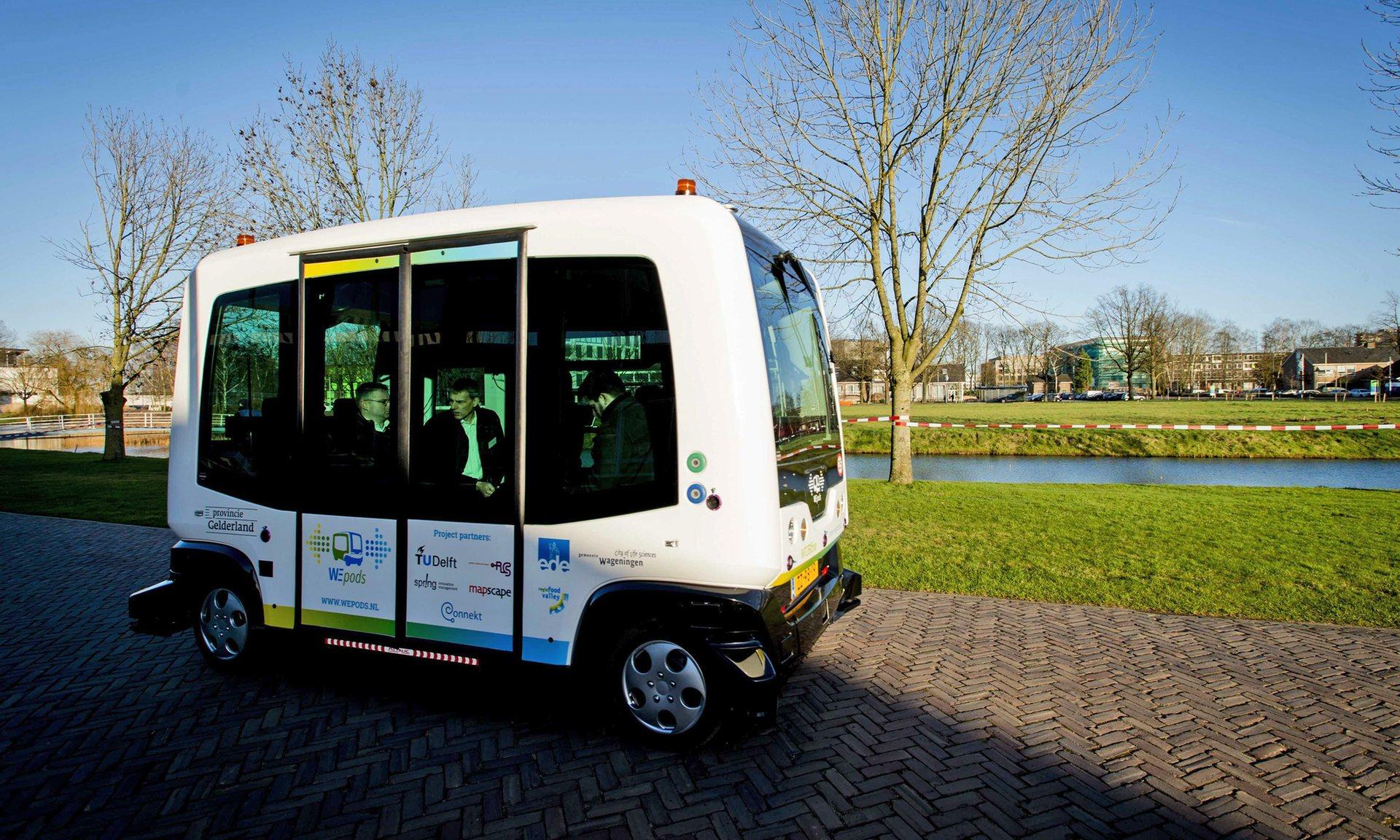 The EasyMile EZ-10 minibus will be rolling out in Helsinki. Credit: Robin van Lonkhuijsen/EPA