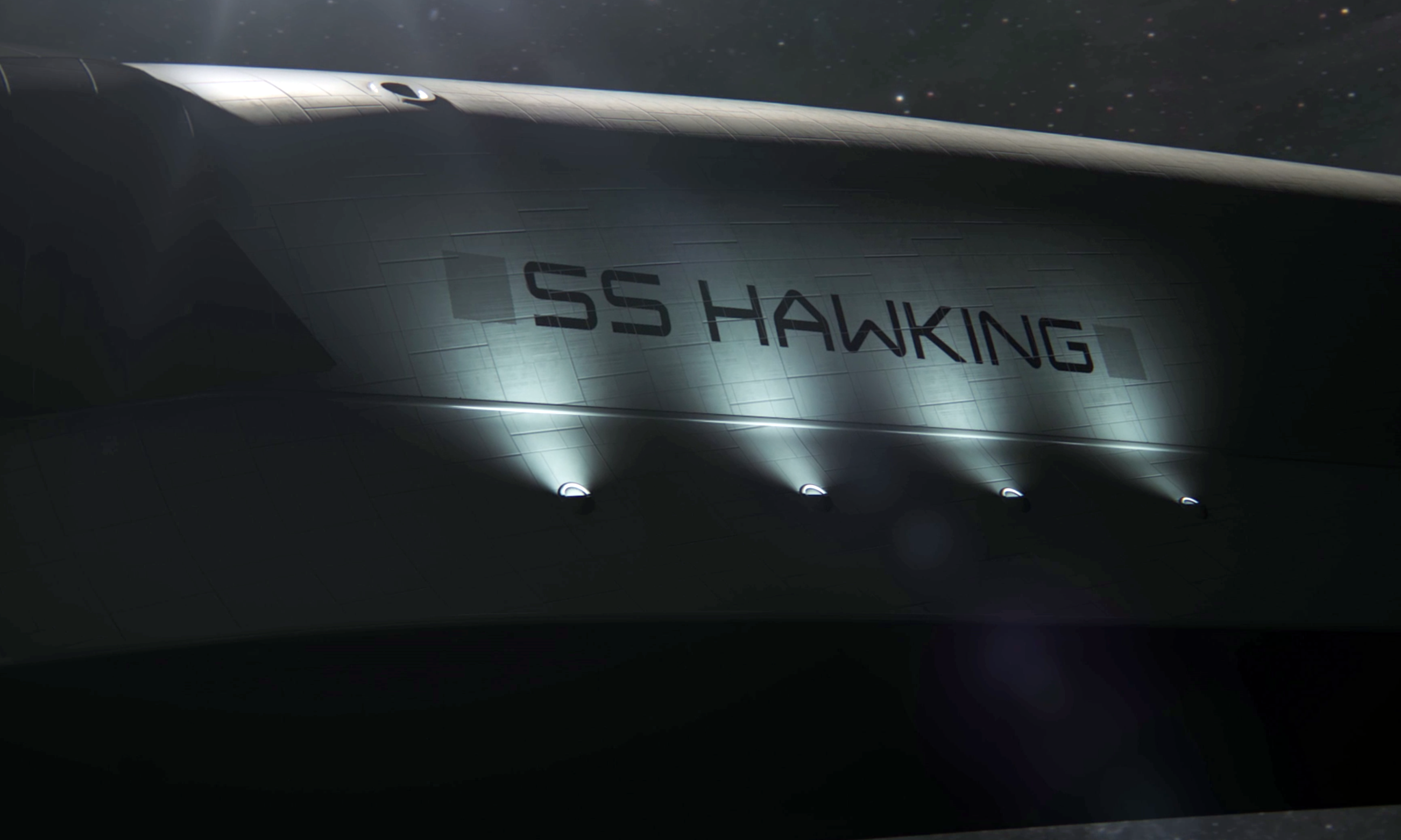 Hawking's CGI spaceship. Credit: Stephen Hawking's Favorite Places, screenshot