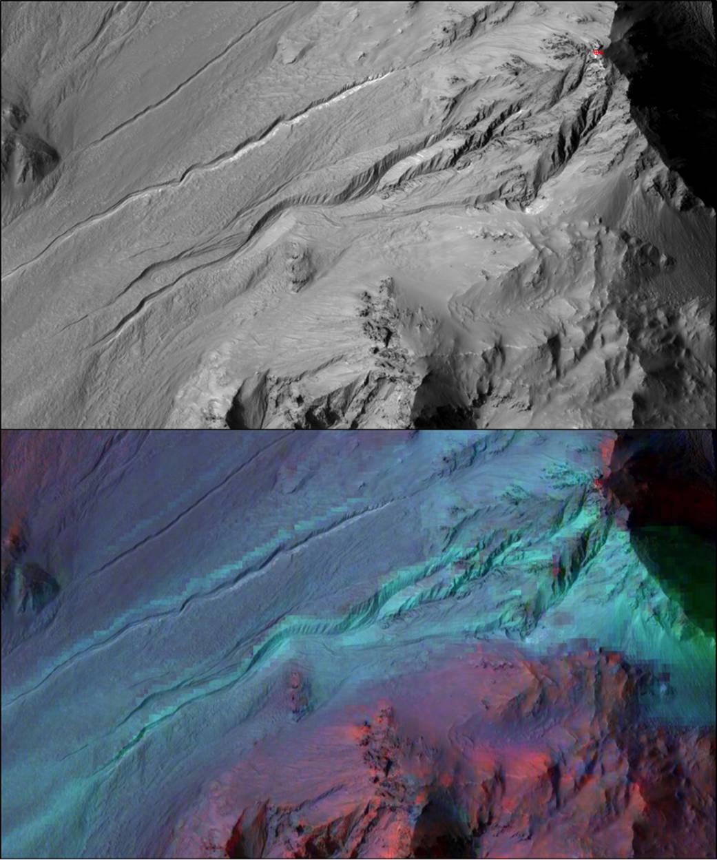 Traces of water on Mars. Credits: NASA