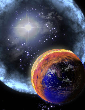 Artist's concept of a ten-second gamma ray burst wiping out life on Earth. NASA.