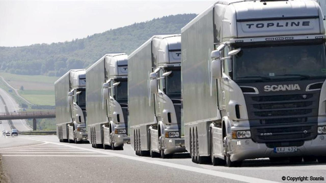 "A ""platoon"" of autonomous trucks. Scania."