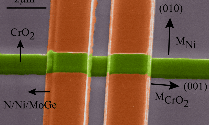 Chromium dioxide ferromagnet (green) and the superconductors (orange) used by the researchers. Credit: Leiden Institute of Physics.